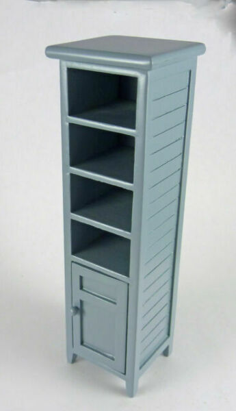 CL10709 Dollhouse Miniature Gray Bathroom Linen Closet Cupboard