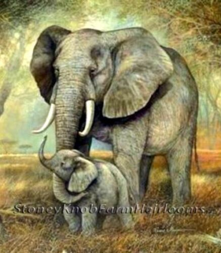 Elephant Mom /& Baby ~ African Animals ~ DIY Counted Cross Stitch Pattern