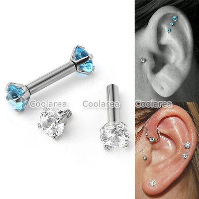 """2x 16G Steel Double CZ Gem 1/4"""" Barbell Ear Tragus Cartilage Helix Stud Earrings"""