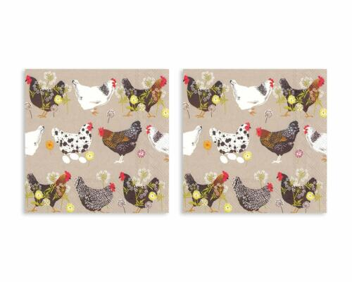 Spatter Hens Natural Brown 5 x 5 Non-Toxic Paper Cocktail Napkins 2 Packs of 20