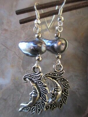 Tibetan Silver Crescent Moon Natural Freshwater Pearls Earrings .925 Ear Wires