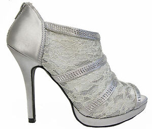 Silver platform Lace Rhinestone Open Toe High Heels Sandals ...