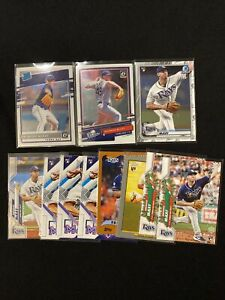 Brendan McKay Rookie 11 Card Lot Bowman Chrome Optic Rookies Rated Holiday Fire