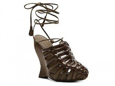 Bottega Veneta Brown Patent Leather Wedge Sandal in Size 39/8-NWT-SRP:$895