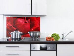 Küchenrückwand Rot Rose Spritzschutz Glas Herd Glasbild ...