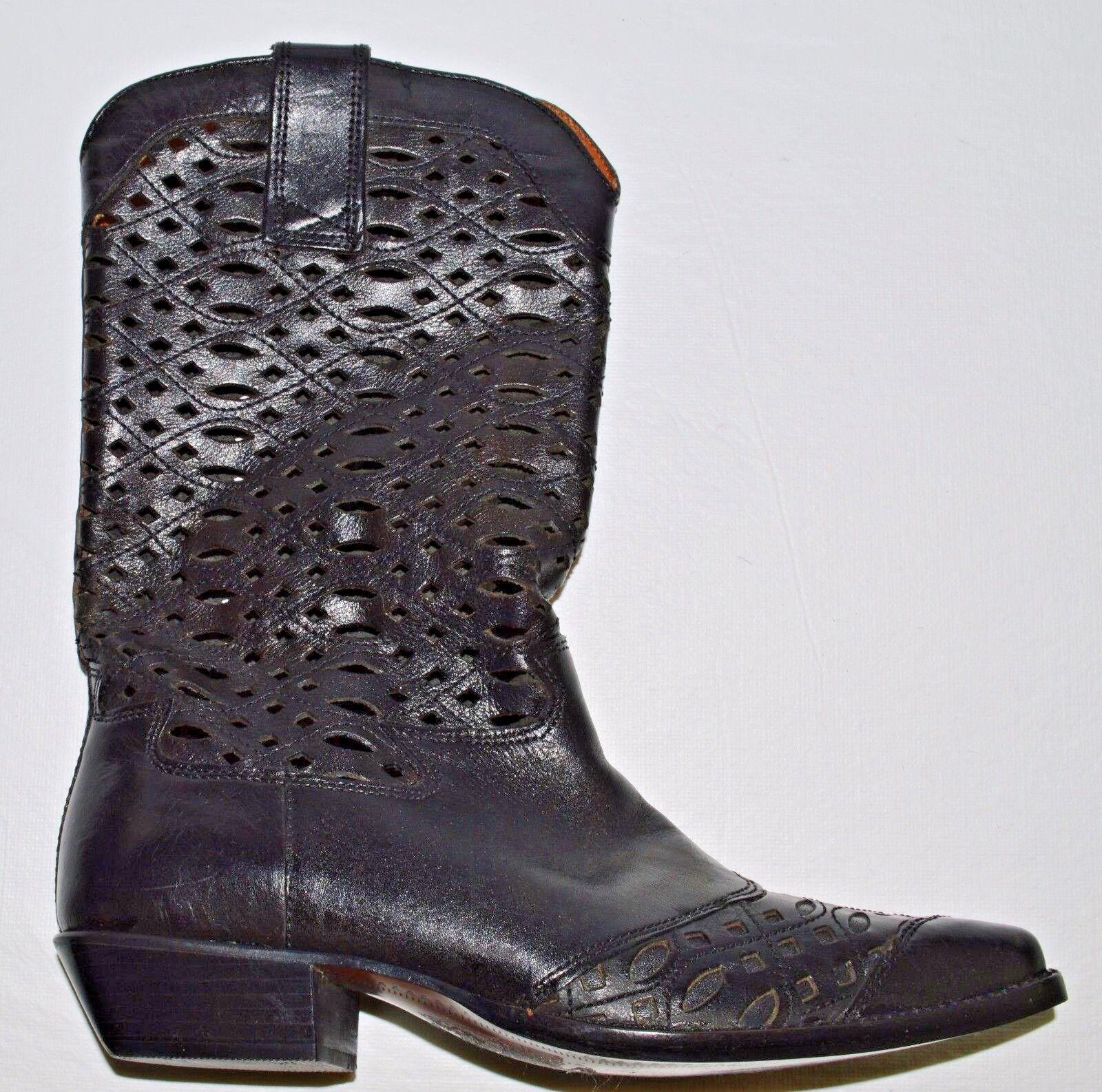 NINE WEST WEST NINE VALENCIA NEW SZ 7.5 M BLACK LEATHER WESTERN COWBOY FASHION Stiefel 0d9c1b
