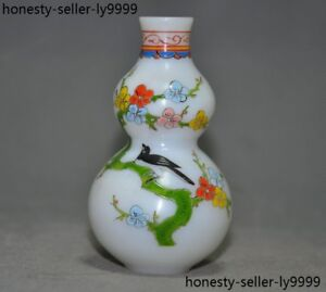Chinese 3.0 inches Master Hand-painted Plum flower Green Glass Snuff Bottle
