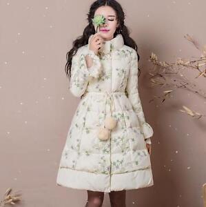 lange elegante dames Nieuwe beige donsjack Pom jas eend Parka bloemenprint XUwFfq