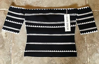 """TORN BY RONNY KOBO """"ADARA"""" EMBROIDERED OFF-SHOULDER TOP, SZ S BLACK & WHITE"""