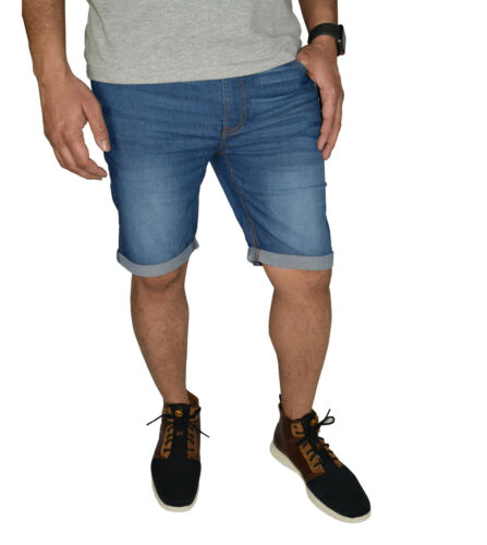 Mens Stretch Denim Chino Shorts Casual Flat Front Slim Fit Super Spandex Jeans