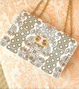 97602a1d589 Details about  628 NEW Tory Burch GEMINI LINK Hicks Garden LARGE CHAIN  Leather Shoulder Bag