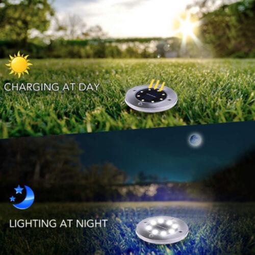 8pcs LED Solar Lights Waterproof Under Ground Garden Lawn Deck Path Yard Outdoor