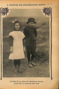 "Brother Sister Lieutenant Edgar Evans South Pole Antarctica 1913 ILLUSTRATION - France - Commentaires du vendeur : ""OCCASION"" - France"