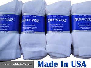 MADE IN USA BETTER QUALITY 12 PAIR WHITE DIABETIC CREW SOCKS SIZE 9-11