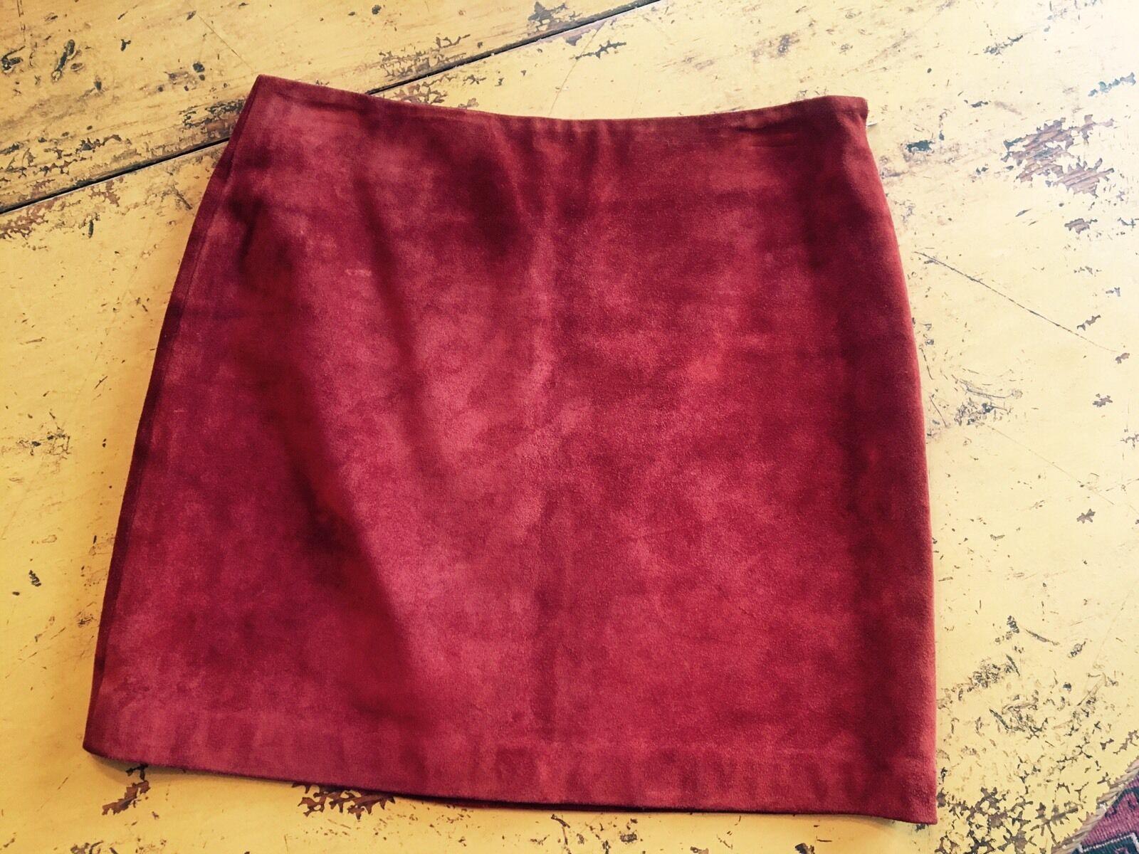 DKNY women Karan New York Women's Designer 100% Suede Mini Skirt Rust Red