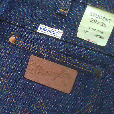 "New Vintage WRANGLER ""Student"" Unisex 100% Cotton Blue Denim Jeans 27 x 35 Dark"