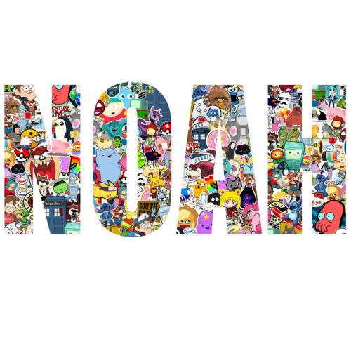 Stickerbomb Personalised Named Text Childrens Kids Wall Sticker Wall Art Vinyl