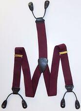 Trafalgar Suspenders Braces Burgundy Black Textured Leather Gold Tone Metal