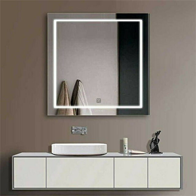 Meykoe 32 x 24 inches LED Bathroom Vanity Mirror Wall Mounted Anti Fog with Touch Switch 6500K Cold White Style 04