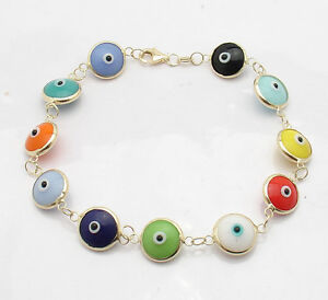 Multi-Color-Evil-Eye-Good-Luck-Bracelet-Solid-Real-14K-Yellow-Gold-ALL-SIZES