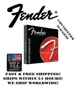 fender 250r regular electric guitar strings 10 46 gauge 3 set value pack 885978098392 ebay. Black Bedroom Furniture Sets. Home Design Ideas