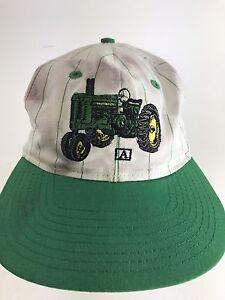 Vintage-John-Deere-Tractor-Farm-Hat-Cap-White-Green-SnapBack-Rare-wow