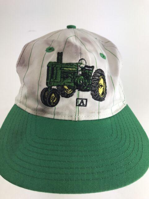 Vintage John Deere Tractor Farm Hat Cap White Green SnapBack Rare wow