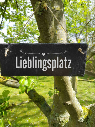 ST 200 Lieblingsplatz Schild Schieferschild Schiefertafel Lasergravur