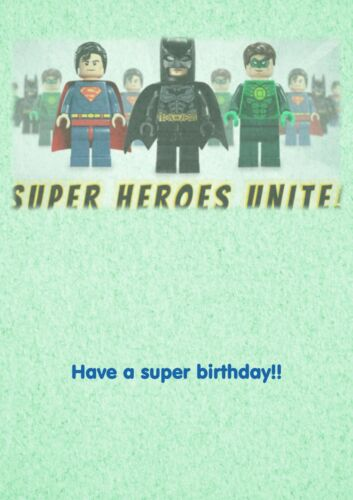 lego Avengers superheroes personalised A5 birthday card son brother nephew name