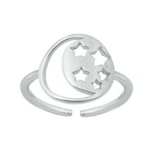 Stars Toe Ring Genuine Sterling Silver 925 Rhodium Plated Face Height 4 mm