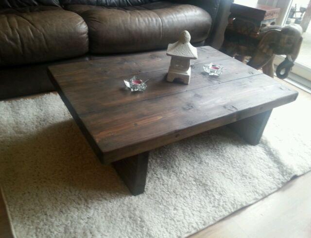 CHUNKY RUSTIC RECLAIMED STYLE COFFEE TABLE HANDMADE SOLID WOOD dark oak stain