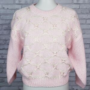 Vintage pink and white 1980s cropped sweater size M new old stock 44-inch bust