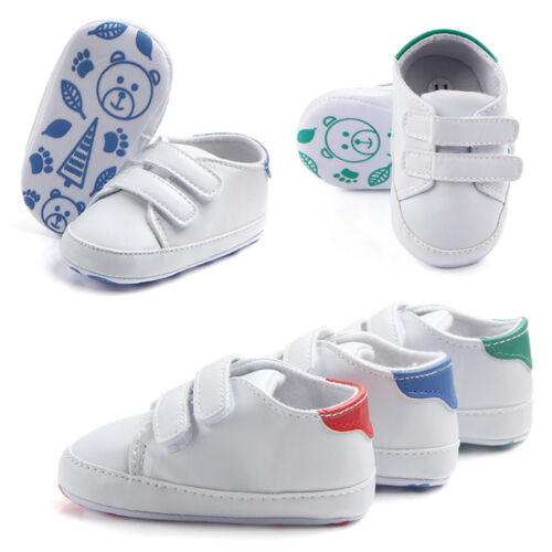 UK Baby Boys Girls Soft Crib Shoes Faux Leather Sneakers Anti-slip Trainers O1