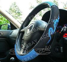 Black Blue Dragon Logo Mesh Look Fabric Car Steering Wheel Cover