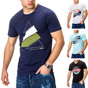 Jack-amp-Jones-T-Shirt-Hommes-Print-Shirt-Casual-Stretch-Top-Manches-Courtes-Shirt
