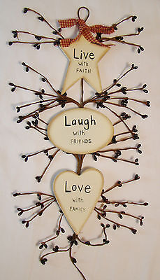 """Rustic Country Wood and Pip Plaque """"Live Laugh Love""""  Inspirational home decor"""