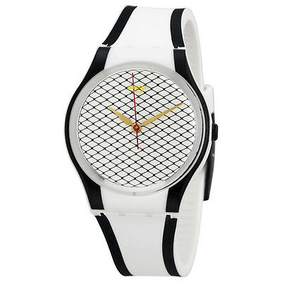 Swatch Net Line White Patterned Dial Black and White Silicone Unisex Watch GW167
