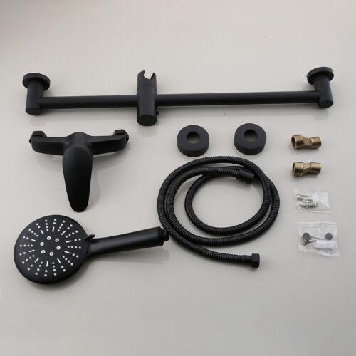 Black Bathroom Rainfall Shower Head Faucet Set /&Hand Spray Mixer Tap Wall Mount