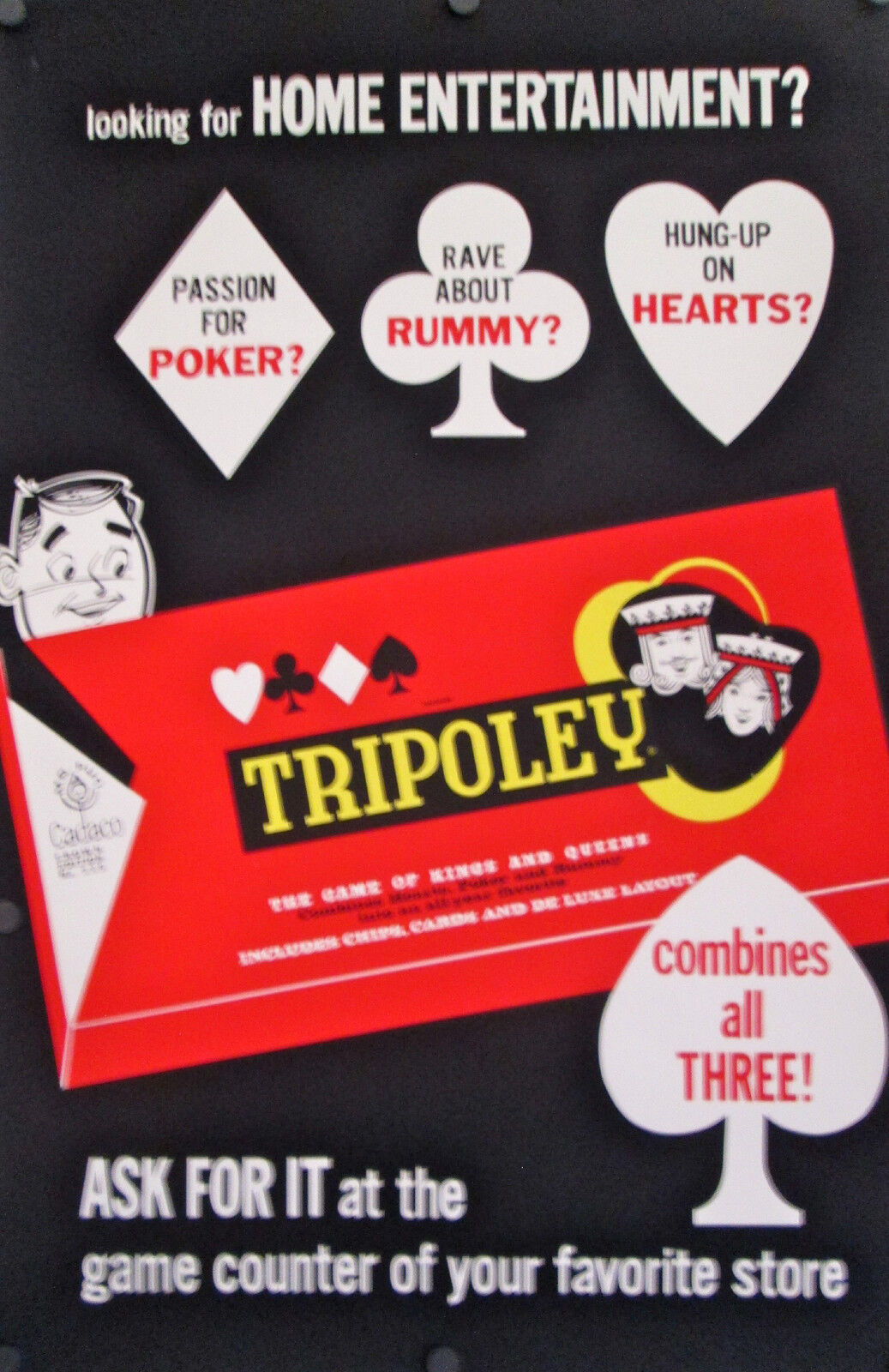 VINTAGE BOARD GAME POSTER FOR TRIPOLY 1960'S 45  X 29 1/2  ROLLED MINT