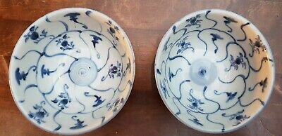 2 Tek Sing Antique 19thc Chinese Blue White Porcelain Bowls China Marked W/ Ring Seniliteit Uitstellen