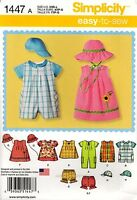 Simplicity Sewing Pattern 1447 Baby Clothes Xxs-l Rompers Dress Top Panties Hat