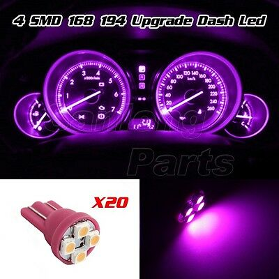 20x Pink Purple Gauge Instrument Cluster Speedometer Dash 4-SMD LED Light Bulbs