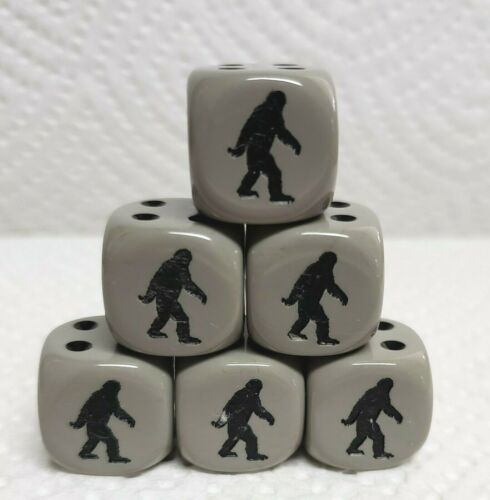 Dice 6 *Bigfoot* on 16mm Opaque Grey w//Black Pips /& Black Images on #1 side
