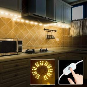 Details About 60leds Warm White Under Cabinet Lights Closet Kitchen Counter Led Light Dimmer