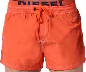 Diesel-Seaside-Swim-Shorts-Double-Waistband-Orange-Navy-Trim-Small-S-Beach-Sale