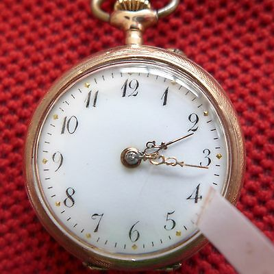 "1915 14 Carat Lower Price with "" Mao "" Lepine Ladies Pocket Watch Gold Ca"