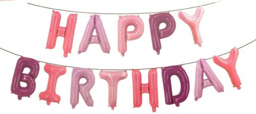 """Reusable 16/"""" Happy Birthday Banner Foil Balloon Bunting Self Inflating Balloons"""