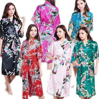 Plus Size kimono Peacock Sleepwear Kimono Satin Silk Long Robe Geisha Dress
