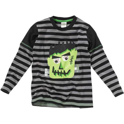 Halloween Boys Novelty Frankenstein Face Long Layered Sleeve Striped Top Black