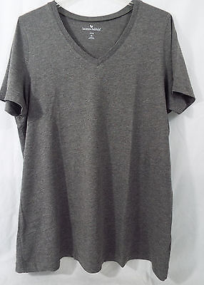 Women's Plus Size Perfect V Neck Shirt in Charcoal Gray